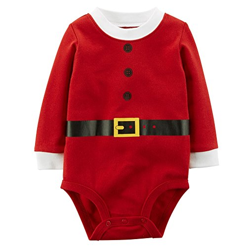 Carter's Unisex Baby Long-sleeve Christmas Bodysuit (Newborn, Red Santa) (Santa Baby Outfit)