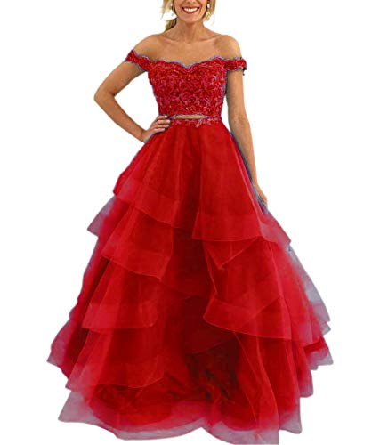 Mauwey Women's Two Piece Off-Shoulder Lace Ruffles Organza Evening Party Prom Gown Quinceanera Dresses -