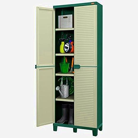 Plástico Caja De Almacenamiento Armario caseta grande jardín unidad contenedores cubo interior exterior con llave cuadrada