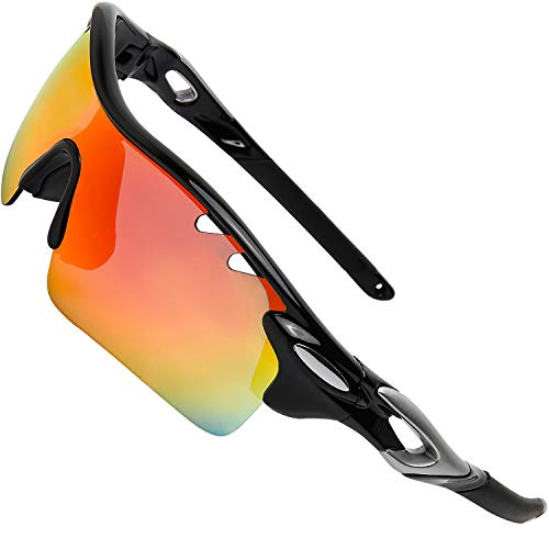 ITSCOOL Polarized Sports Sunglasses with Interchangeable Lenses for Men Women Youth Baseball Running Driving Fishing Golf Cycling Glasses Black (Best Sunglass Lenses For Golf)