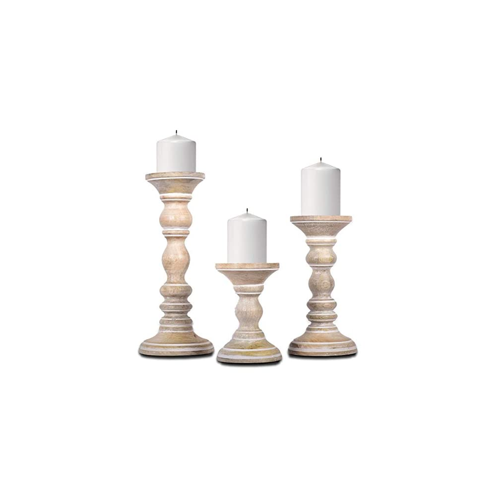 Rustic Wood Candle Holders, Set of 3 – Hand Carved Decorative Candle Holders for Living Room, Table Centerpiece, or ATOP…