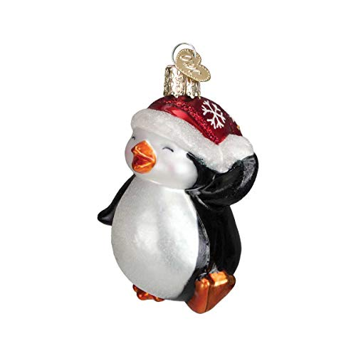 (Personalized Dancing Penguin Glass Blown Christmas Ornament Tree Old World Christmas)