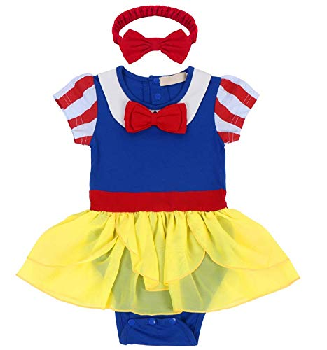 Baby Girl Snow White Princess Outfit Gown Set Toddler Birthday Party Costume Halloween Fancy Romper Dress Up w/Headband 6-12 Months ()