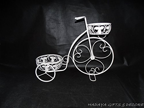 Iron Tricycle (shabby chic White Wrought Iron Tricycle Shaped Planter Double Basket Planter Holder for Indoor or Outdoor Use. Finished in Powder Coated Antique White Gives This a Weathered Look of Bygone Years.)