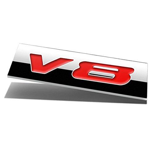Chrome Finish Metal Emblem V8 Badge (Red Letter)