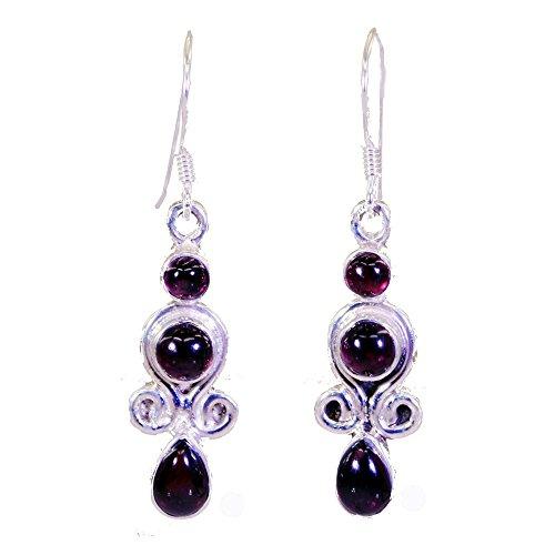 Gemsonclick Real Garnet Silver Earrings For Women Gift Fish Hook Fashion Jewelry Pear Shape Cabochon Cut