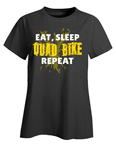 Americas Best Buys Eat Sleep Quad Bike Repeat Funny Gift Yellow Splatter Brap Braap ATV Sport - Ladies T-Shirt