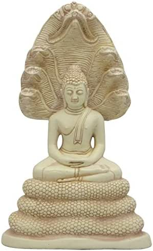 Meditating Buddha and Naga Statue, 9.5 Inches