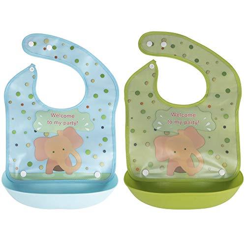 Ibnotuiy Elephant Baby/Toddler Bibs, 2 Pack Waterproof Silic