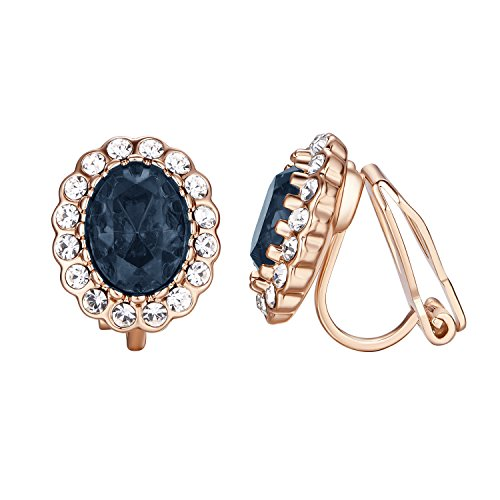 (Yoursfs Sapphire Clip Earrings Circular Halo Navy Crystal 18k Rose GP Jewelry for Women (Blue Clip Earrings))