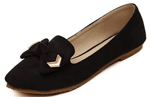 Scarpe Basse Easemax Da Donna Casual Con Fiocco In Metallo A Taglio Basso, Slip On Shoes Nero