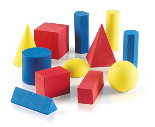 hand2mind Foam Geometric Solid Blocks, Assorted Colors, 3D Shapes (Set of 12)