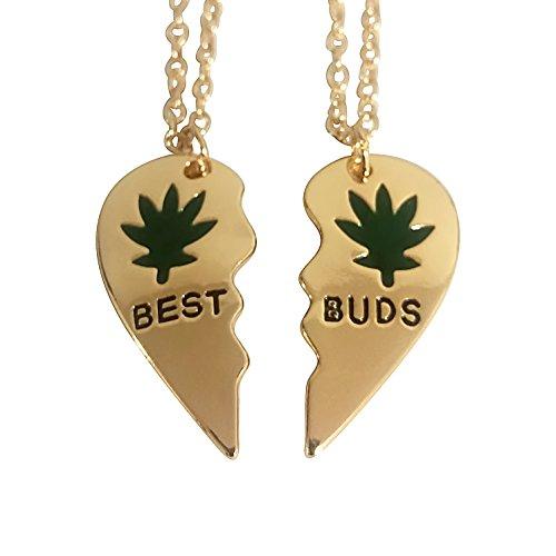 Art Attack Broken Heart Best Buds Marijuana Pot 420 Weed Ganja Best Friends BFF Matching Necklace Gift Set