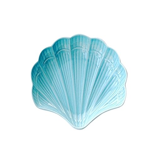 Ins Ocean Sea Style Porcelain Blue Starfish Fruit Platter Dessert Bread Plate Sauce Butter Plate Ceramic Scallop Shaped Breakfast Serving Tray Decorative Dinner Salad Dish Holder Tableware Home -