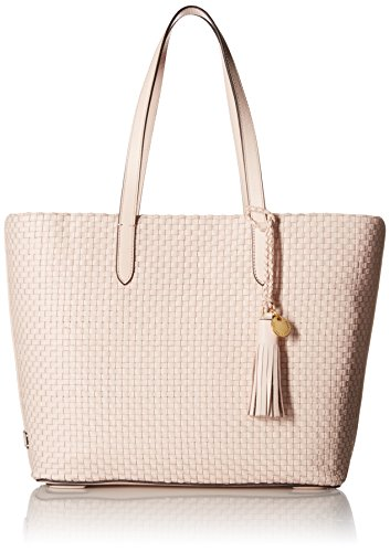 Leather Woven Handbag (Cole Haan Woven Collection Payson Tote, Peach Blush)