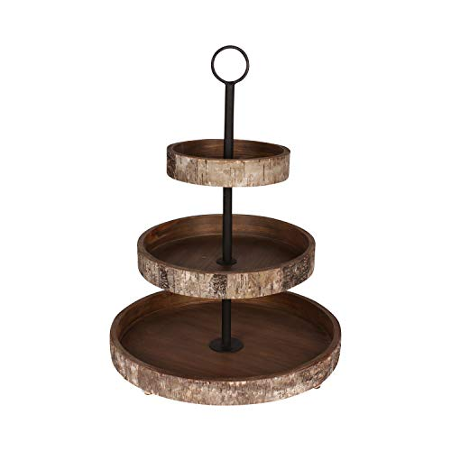 Brown 2 Tiered Serving Tray - Kate and Laurel White Birch Wood Rustic 3 Tiered Tray