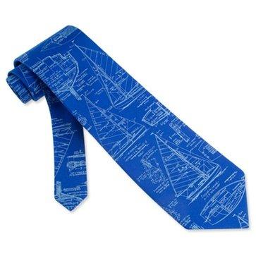 Tie Neckwear Silk Alynn (Sailboat Blueprints Sail Plans Sailing Nautical 100% Silk Necktie Tie Neckwear)