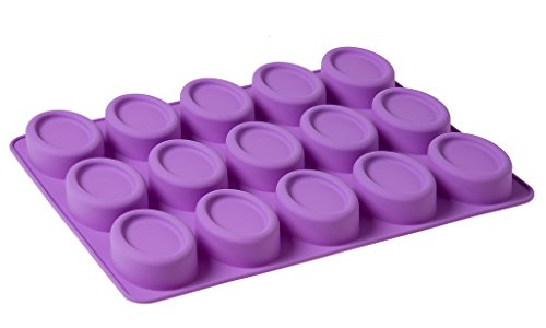 Moldiy 15 Cavity Oval Shaped Silicone Handmade Flexible Cake Soap Mold