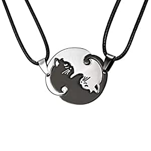 Zysta Yin-Yang Puzzle Matching Cat Cuddling Warm Sweet Cute Couples Necklace Leather Rope Back Engraving White Black Kitty Pendants
