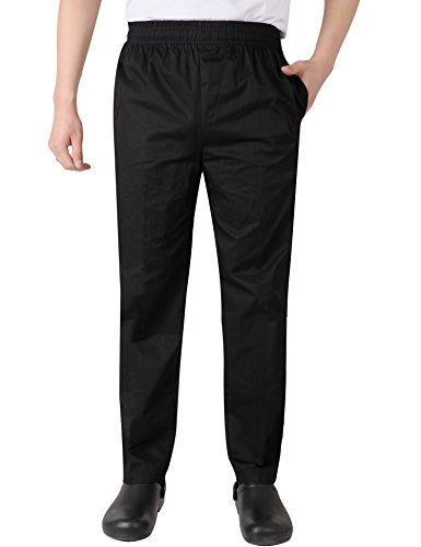 AETEL Men's Unisex Black & White Cool Vent Baggy Chef Pants (X-Large, Black)