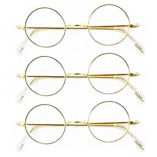 [Round Wire Rim Glasses Costume Accessory (3 Pack)] (Ben Franklin Adult Mens Costumes)