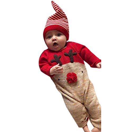 Omiky® Neugeborenen Baby Deer Weihnachten Jungen Mädchen Kleidung Overall + Hut Set Outfits Rot
