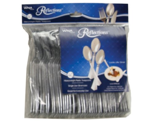 Reflections Heavyweight Plastic Cutlery Spoon, 6.25-Inch, Silver (8 packs of (Wna Reflections Heavyweight Plastic Cutlery)