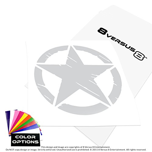 Freedom Army Star - Distressed Invasion Star Vinyl Decal Sticker - Made in USA - Rated up to 8 years - Indoors or Outdoors - Cars, Laptops, Windows, etc. (10