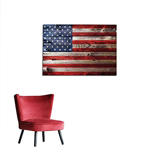 Country Stone Foyer - kungfu Decoration Wallpaper Rustic American USA Flag,Fourth of July Independence Day Weathered Retro Wood Wall Looking Country Emblem Space Poster W47.2 x L31.5