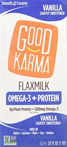 GOOD KARMA, FLAX MILK, PROTEIN, VANILLA, Pack of 6, Size 32 FZ - No Artificial Ingredients Dairy Free Gluten Free Low Sodium Vegan