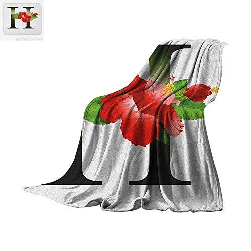 Letter H Warm Microfiber All Season Blanket Hibiscus Design Green Leaves Vibrant Color Flower Natural Pattern Print Summer Quilt Comforter 90