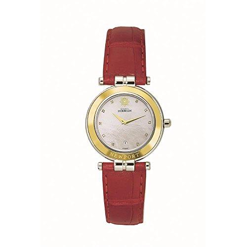 Michel Herbelin Women's Newport Red Leather Band Steel Case Quartz MOP Dial Analog Watch 16855/AOR89RO