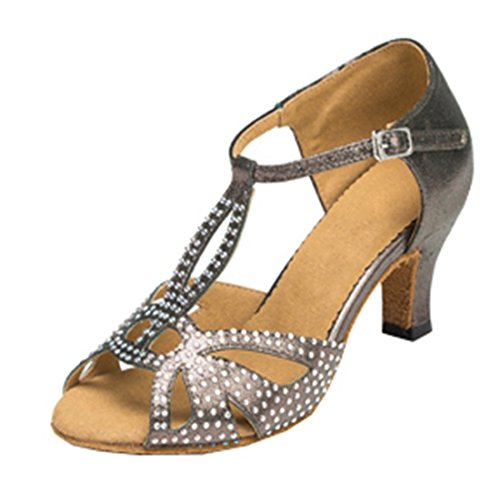 Dance Heel Modern Latin Women's Strap T Stylish Cut Open TDA Shoes out Gray Satin Buckle Rhinestone Toe Mid ZwqUCP