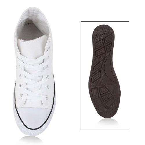 Trendy Damen Sneakers Sportliche Sneaker High Stoffschuhe Camouflage Animal Print Muster Sportschuhe Flandell Weiß