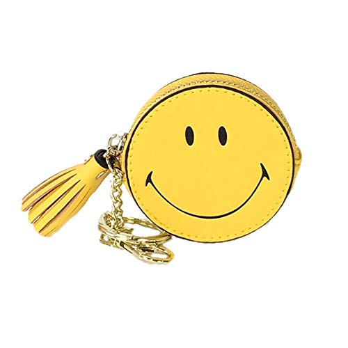 Fashion Culture Smiley Face Coin Purse Key Ring Bag Charm, Yellow