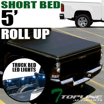 Topline Autopart Lock & Roll Up Soft Vinyl Tonneau Cover & Truck Bed LED Lighting System For 15-18 Chevy Colorado ; GMC Canyon Crew Cab 5 Feet ( 60