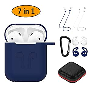 Hianjoo Compatible AirPods Case 7 in 1 Accessories Kits [Airpods & Charger NOT Included] Shockproof Protective Silicone Cover with Anti-Lost Strap/Carabiner/Ear Hook/Storage Case Apple AirPods, Blue