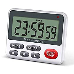 Digital Kitchen Cooking Timer Clock, Simultaneous Timing Countdown Up Pocket Timer with alarm clock, Large Led Display, Memory, Stopwatch Function, Magnetic Back (Battery included)