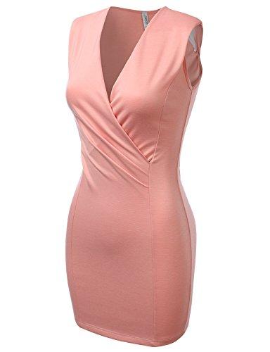 J.TOMSON Womens Sleeveless Surplice Fitted Mini Dress PEACH SMALL