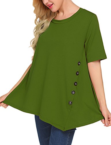 - Sweetnight Women's Casual O-Neck Short Sleeve Solid Asymmetrical Pleated T-Shirt Blouse Top Plus Size (XXL, Green)