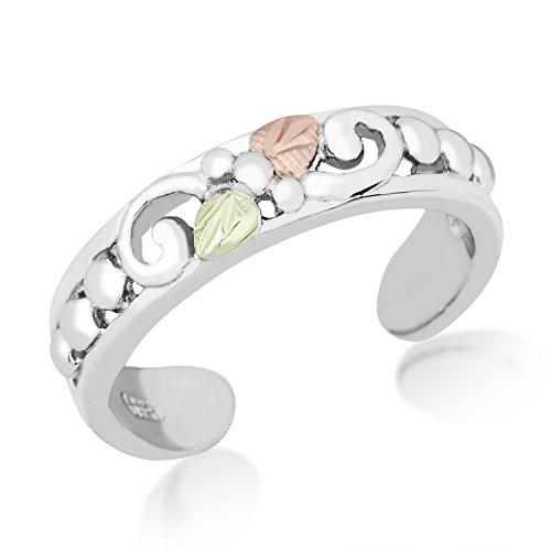 Black Hills Gold Sterling Silver Ring - Black Hills Gold Toe Ring, Sterling Silver, 12k Green Gold and 12k Rose Gold