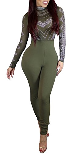 [Speedle Women Sexy Hight Waist Bodycon Club Jumpsuit Rompers Playsuit Green XL] (Sexy Women In Sexy Outfits)