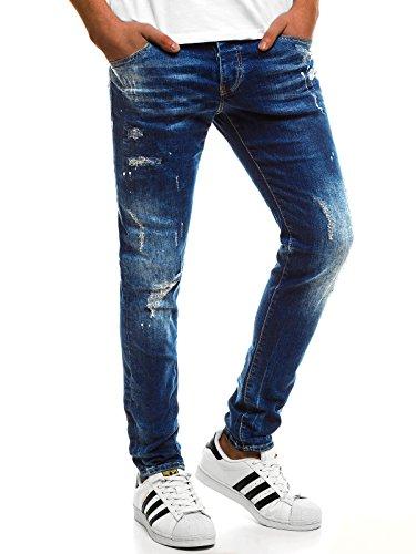 OZONEE Hombre Pantalones Vaqueros Pantalón Chándal Pantalones Deportivos Pantalones de Ocio Pantalón chándal Jogger Otantik 1805 Azul _ Ozonee B/8023