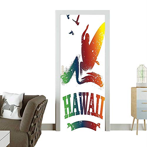 Door Sticker Wall Decals Colorful Hawaiian Surf Scene Silhouette Board The Water Free Spirit Easy to Peel and StickW38.5 x H77 INCH