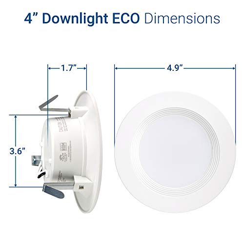 Hyperikon 4 inch LED Recessed Light, 9W Downlight Dimmable (65W Equiv.), LED Retrofit Lighting Fixture, Ceiling Recess Can Lights, Halo Retrofit Baffle Trim, 4000K CRI84, UL, Kitchen, Office (16 Pack) by Hyperikon (Image #8)
