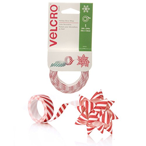 "VELCRO Brand - Holiday Decor Wrap Ribbon, 10' x 3/4"", Red Stripes"