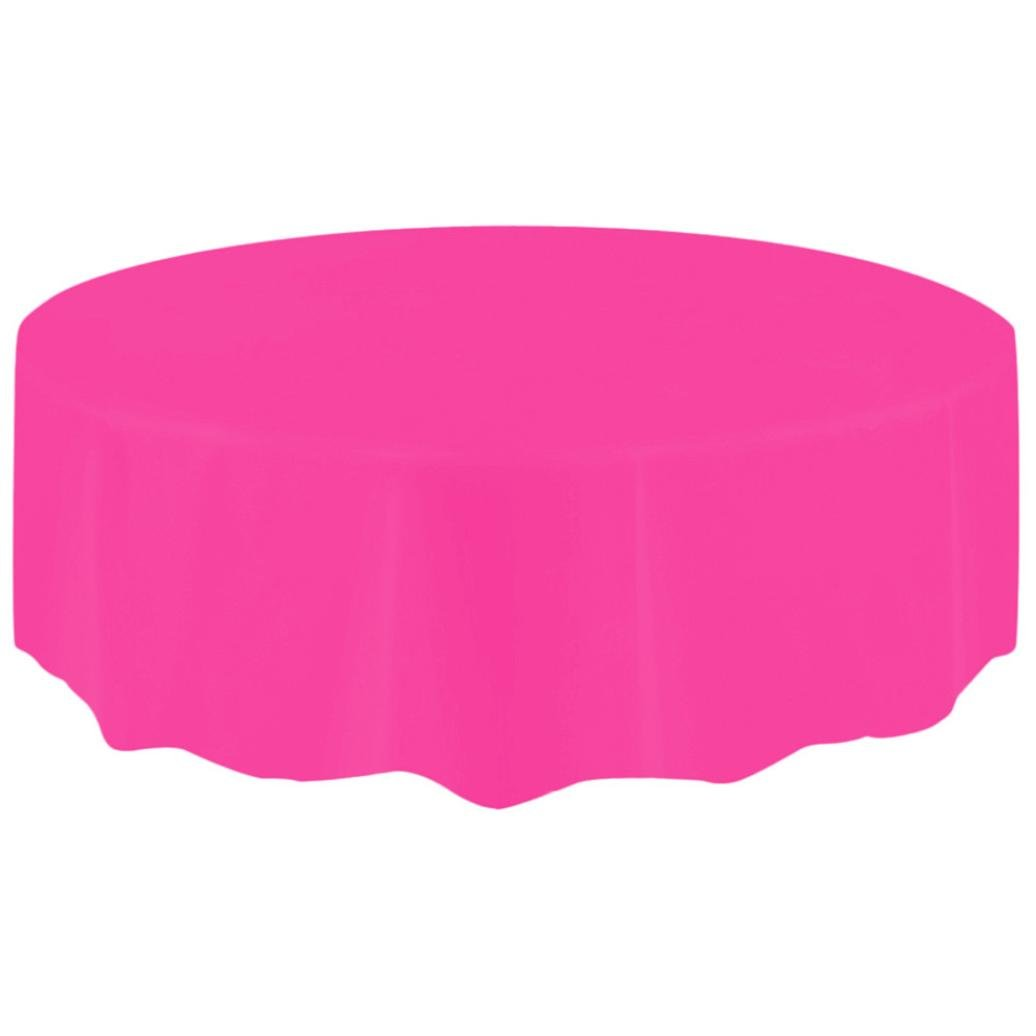 Disposable Plastic Tablecovers,Vanvler Circular Tablecloth for Birthday Party Large (Hot Pink)