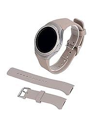SODIAL(R) Luxury Silicone Watch Band Strap for Samsung Galaxy S2 Gear SM-R720 Khaki