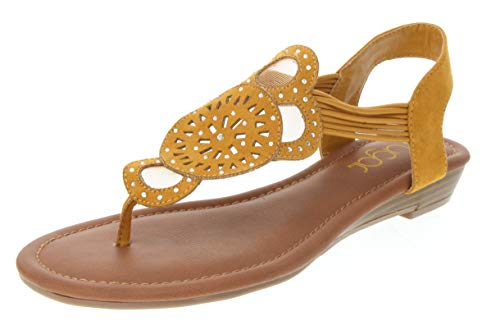 - Sugar Women's Catamaran Mustardal with Cutouts Rhinestones and Bungee Mustard Microsuede 6.5