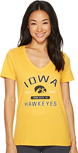 Champion College Women's Iowa Hawkeyes University V-Neck Tee Champion Gold X-Large (V-neck Hawk)